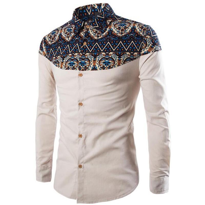 594410e475 Camisa Férias Africana Social Masculina Manga Longa Elegante Vintage