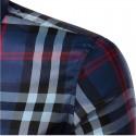 Camisa Casual Xadrez Elegante Masculina Manga Longa Roxo