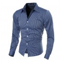 Social Striped shirt Elegant Thin Men's Formal Neutral