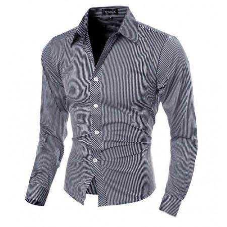 Camisa Social Listrada Elegante Fina Masculina Formal Neutra