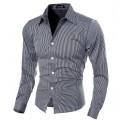 Social Striped shirt Elegant Thin Men's Formal Neutral