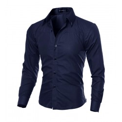 Elegant Social Shirt Men's Formal Event Long Sleeve Bright