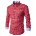 Shirt Men's Social Checkered Long Sleeve Stylish