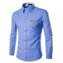 Shirt Men's Social Checkered Long Sleeve Stylish
