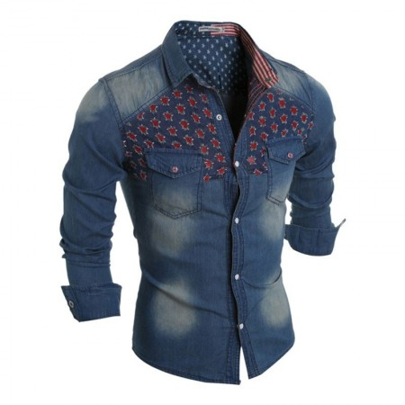Shirt Jacket Casual Jeans Men's Green Sports