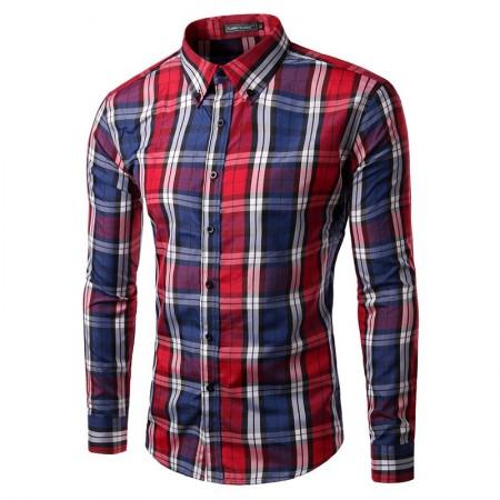 Casual Shirt Plaid Elegant Men's Long Sleeve Red
