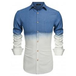 Camisa Degrade Jeans Fino Masculina Azul e Branca Elegante Manga Longa
