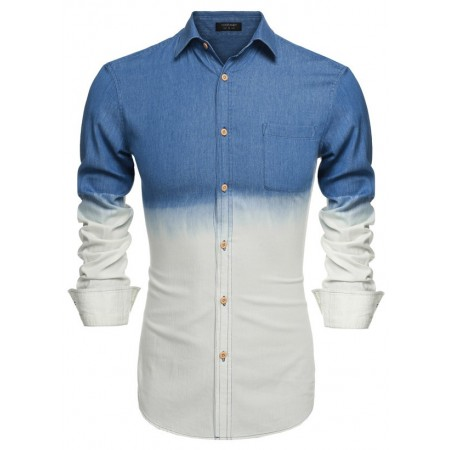 Degrade shirt Slim Jeans Men's Blue and White Elegant Long Sleeve