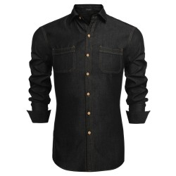Casual Shirt Slim Jeans Black and Blue Jacket Men's Adventure