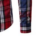 Camisa Casual Xadrez Elegante Masculina Manga Longa vermelho