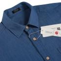 Camisa Casual Jeans Fino Preto e Azul Jaqueta Masculina Aventura