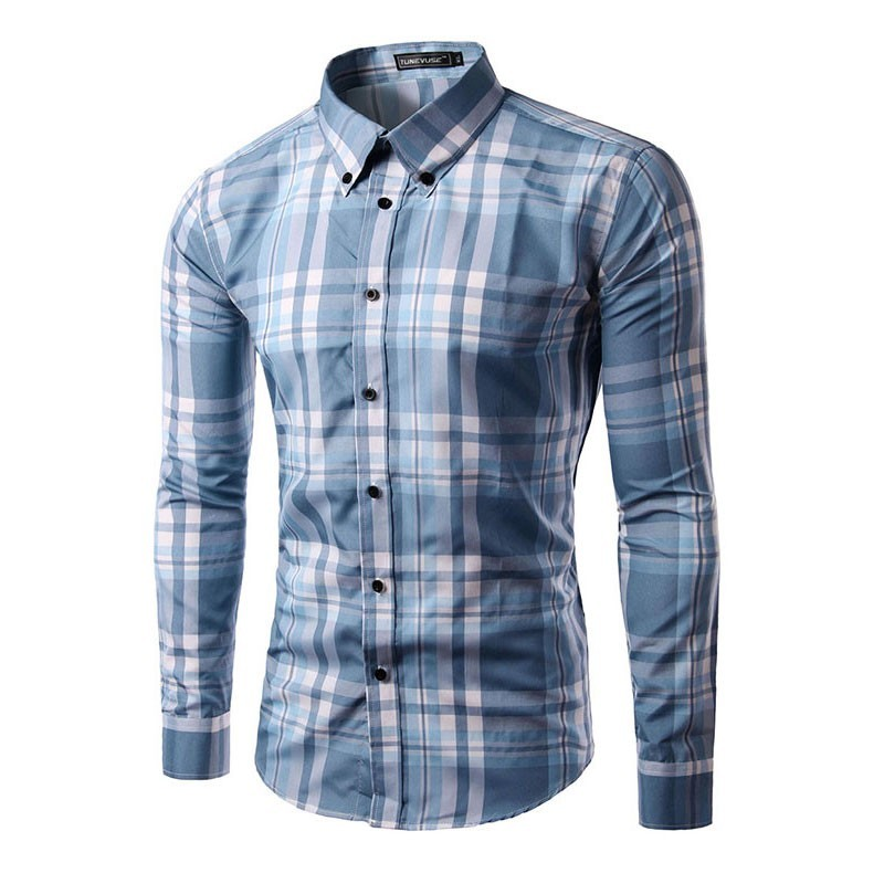 Shirt blue plaid casual elegant men 39 s long sleeve for Mens casual plaid shirts