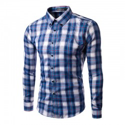 Shirt Blue Plaid Casual Elegant Men's Long Sleeve