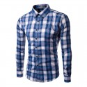 Blue plaid shirt Casual Elegant Men's Long Sleeve