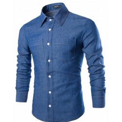 Jeans shirt Slim Casual Male Lisa Long Sleeve Style Rural Fashion