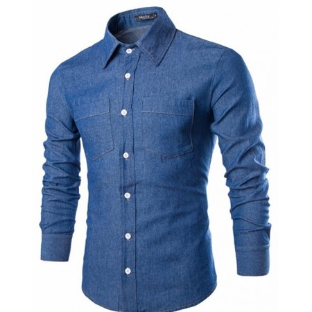 Camisa Jeans Fino Casual Lisa Masculina Manga Longa Estilo Moda Rural