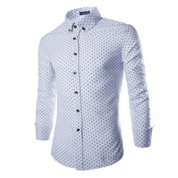 French shirt Polka Dot Men's Casual Long Sleeve Social