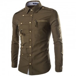 Shirt Jeans Slim Men's Jacket Elegant Country Club Party