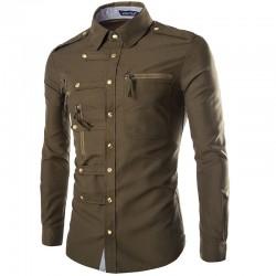 Shirt Military Formal Men's Commander Authority
