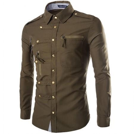 Shirt Jeans Slim Men's Jacket Elegant Country Club Party