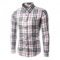 Casual Shirt Plaid Elegant Men's Long Sleeve Red