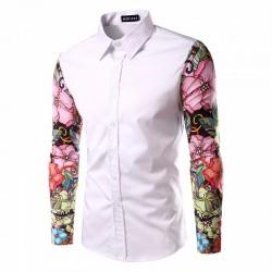 Camisa Casual Masculina Floral Férias de Verão Praia Mar Moderna