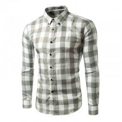 Casual Shirt Plaid Elegant Men's Long Sleeve