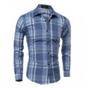 Camisa Casual Xadrez Masculina Azul e Roxo Manga Longa de Botão