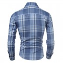 Casual Shirt Chess Men's Blue and Purple Sleeve Button Long