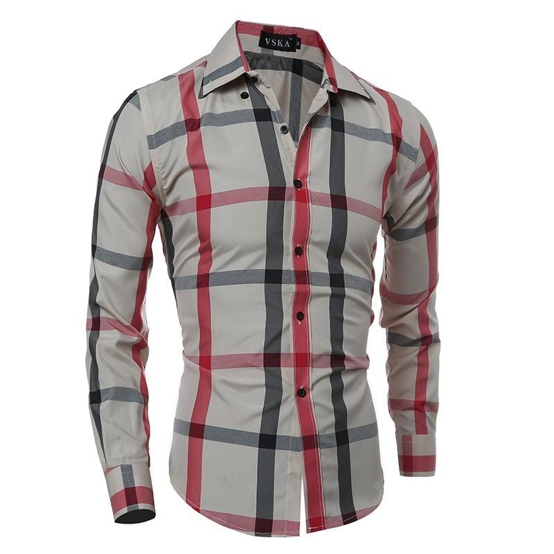 4fecaf805 Camisa Xadrez Masculina Casual Manga Longa Elegante Jovem Slim Fit