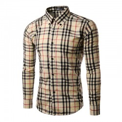 Casual Shirt Men's Long Sleeve Plaid Stylish White