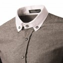 Camisa Social Slim Fit Masculina Casual Marrom Manca Longa Elegante