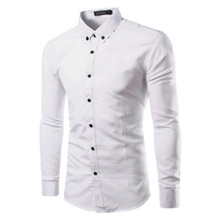 Camisa Social Elegante de Bolinhas Branca Masculina Estudante
