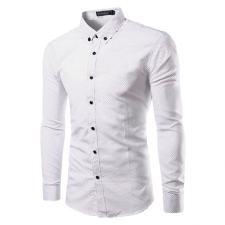 Elegant Social shirt Polka Dots White Male Student