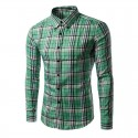 Casual Shirt Men's Long Sleeve Plaid Stylish