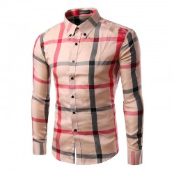 Shirt Casual Elegant Men's Long Sleeve Plaid Party