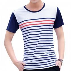 Camiseta Casual Listrada Básica Branca de Verão Masculina