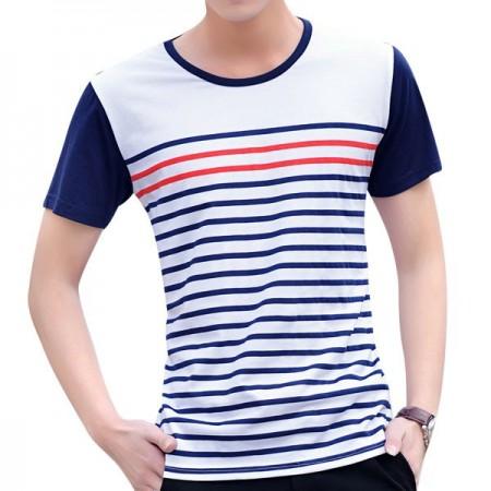 Striped Casual Shirt Basic Summer White Men