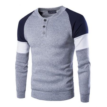 Camiseta Manga Longa de Inverno Masculina Elegante Cinza e Azul