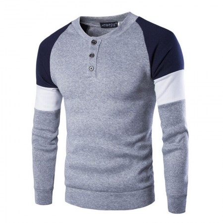Shirt Winter Long Sleeve Men's Elegant Grey and Blue