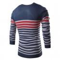Camiseta Polovêres Listrada Masculina de Inverno Manga Longa em Lã