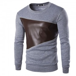 Shirt Men's Leather Elegant Casual Winter Long Sleeve