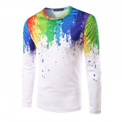 Shirt Casual Artistica Simple White and Color Men's Long Sleeve