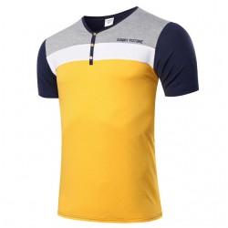 Camiseta Masculina Gola V Listras Casual Club Amarelo e Cinza Moderna