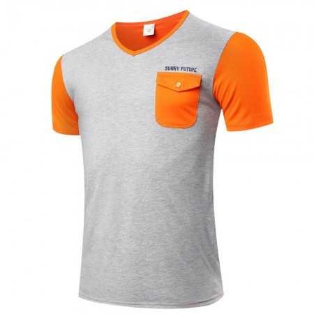Camiseta T Casual Masculina Básica com Bolso Elegante Cinza Manga curta