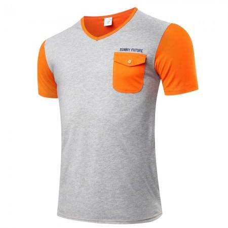 T Men's Casual Basic Grey Stylish Pocket Short Sleeve