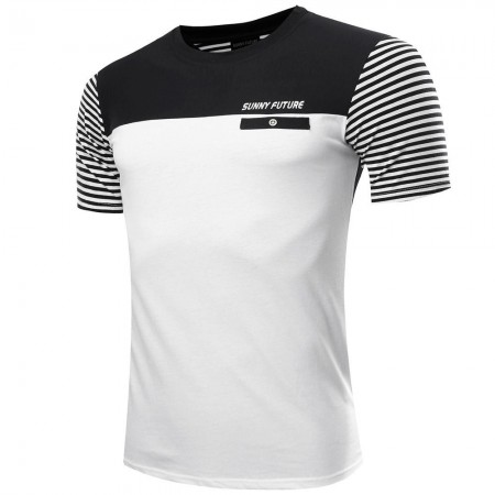 Men's T shirt Striped Casual Elegant Modern Sport Summer