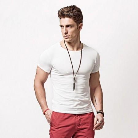Camiseta Esporte Fino Básica Masculina Fria Algodão Macio Casual de Verão