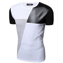 Camiseta Festa Club Masculina Elegante Couro Branca Casual Moderna