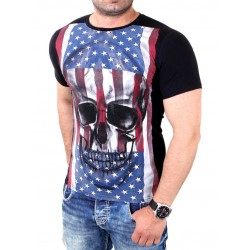 Stamped shirt Skull and Flag Men's Black and White Casual